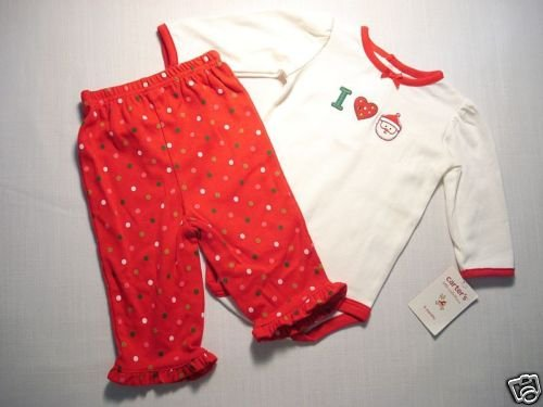 CARTER'S Girl's Newborn 'I Love Santa' Outfit, NEW