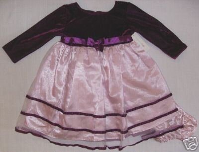 Girls 18 Months Burgundy and Pink Occasion Dress, NEW