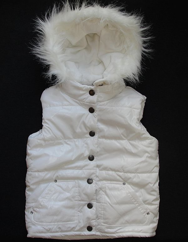 CHILDREN'S PLACE Girl's Size 4 White Ski Vest, Fleece, Detachable Hood NEW