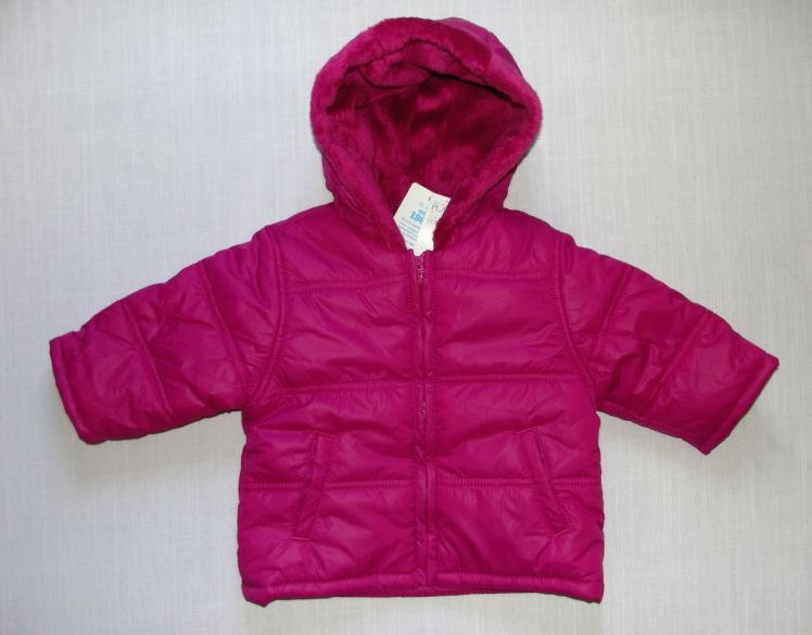 CHILDREN'S PLACE Girl's 12 Months Magenta Winter Jacket with Faux Fur Hood, NEW