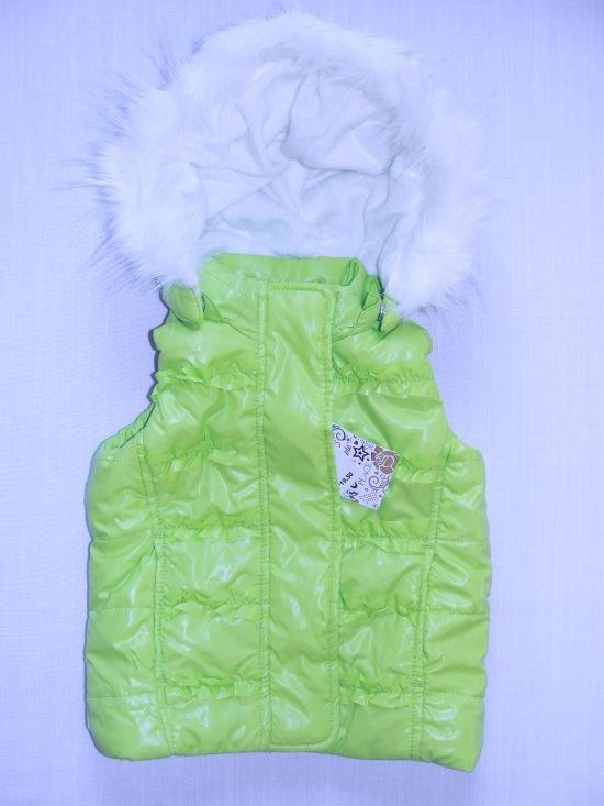 CHILDREN'S PLACE Girl's Sz 24 Months Green Ski Vest, Fleece, Detachable Hood NEW