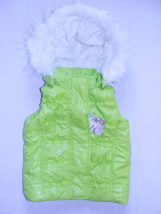 CHILDREN'S PLACE Girl's Size 3T Months Green Ski Vest, Fleece, Detachable Hood NEW