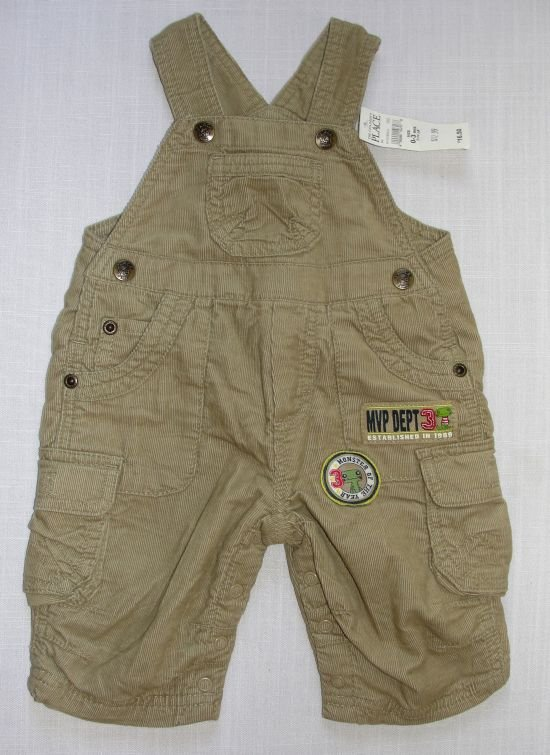 THE CHILDREN'S PLACE 0-3 M Tan Lined Corduroy Overalls, Monster of the Year, NEW