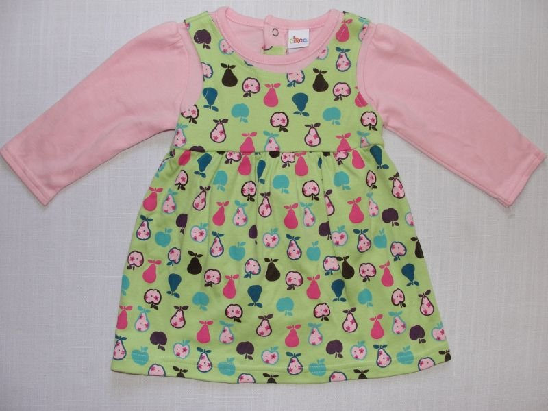 CIRCO Girl's 6 Months Green and Pink Dress Set, Fruit Theme, NWOT