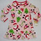 CARTER'S Girl's Size 2T CHRISTMAS SANTA SNOWMAN Fleece Nightgown, NEW
