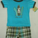Carter's Boy's 9 Months Little Surfer Shirt, Plaid Shorts Outfit, NEW