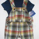 OSHKOSH Boy's 3 Months Navy Blue T-Shirt and Plaid Shortalls Set, Outfit, NEW