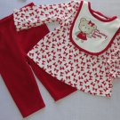 FIRST IMPRESSIONS Girl's 0-3 Months Red 'Mommy Loves Me' Pants Set, NEW