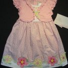 YOUNGLAND Girl's 4T Pink Floral Gingham Dress, NEW