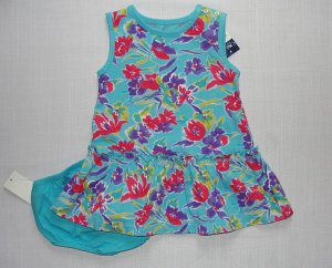 CHAPS Girl&#039;s 12 Months Aqua, Teal Floral Dress Set, NEW