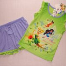 DISNEY FAIRIES TINKERBELL Girl's Pajama Shorts Set, Size 4/5, NEW