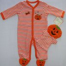 LITTLE ME HALLOWEEN Pumpkin Coverall with Puppet, Size 3 Months, NEW