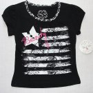 PONY TAILS Girl's Size 5/6 Black Shirt, Top, 'BEAUTY', NEW