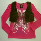 SELF-ESTEEM Girl's Size Large Pink Butterfly Shirt and Brown Faux Fur Vest Set