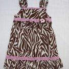 YOUNGLAND Girl's Size 3T Brown Zebra Sundress, Dress, NEW