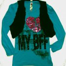 KNITWORKS Girl's Size Large, 14, BFF Shirt and Black Faux Fur Vest Set
