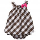 CARTER'S Girl's 6 Months Brown Checkered Woven Romper, NEW