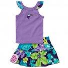 CARTER'S Girl's 24 Months Purple Toucan Floral Skort, Skirt Set, NEW