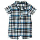 CARTER'S Boy's Size 24 Months Blue, Black Plaid Short-Sleeved Romper, NEW