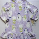 CARTER'S Girl's Size 4/5 Fleece Purple Snowman Nightgown, NEW