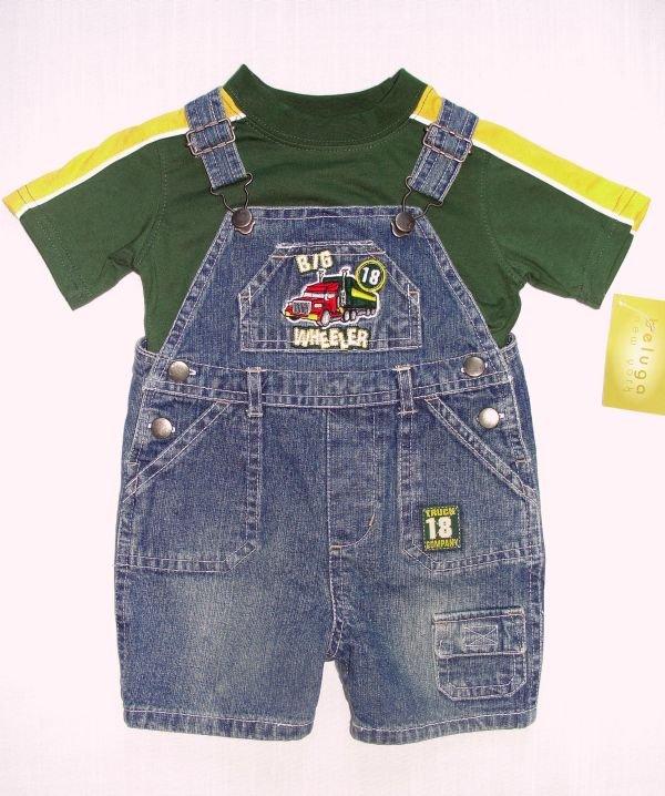 BELUGA NEW YORK Boy's 18 Months Denim Shortalls, Shirt Set, TRUCK, NEW