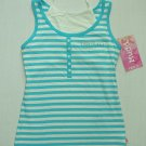 MUDD Girl's Size L, (14), Torquoise and White Striped Tank Top, Shirt, NEW