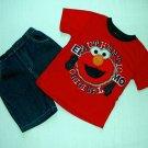 SESAME STREET Boy's 4T ELMO T-Shirt, Denim Shorts Outfit, Set ,NEW