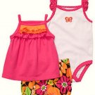 CARTER'S Girl's 9 Months 3-Piece Shorts, Shirts Set, Pink, Butterfly, NEW