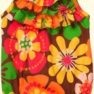 CARTER'S Girls 18 Months Brown Floral Tiered Summer Romper, NEW