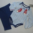 FIRST IMPRESSIONS Boy's 0-3 Months 'FUTURE ATHLETE' 3-Piece Outfit, NEW
