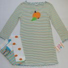 SWEET POTATOES Girl's Size 4 Striped Pumpkin Fall Dress Leggings Set, NEW