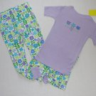 L.L. Bean Girl's Size 3T Purple Floral 3-Piece Pajama Pants, Shorts Set, NEW