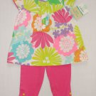 CARTER'S 18 Months Floral Tunic, Pink Leggings Pants, Outfit, NEW
