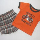 CARTER'S Boy's 6 Months MOMMY'S LITTLE DAREDEVIL Shorts Outfit, Set, NEW