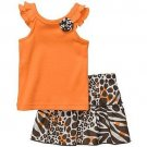 CARTER&#39;S Girl&#39;s 9 Months Orange Animal Print Skort, Skirt Set, NEW