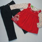 SESAME STREET Girl&#39;s Size 4T ELMO Tunic Shirt, Denim Pants Set, NEW
