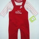 CIRCO Boy's, Girl's 3 Months MY 1st CHRISTMAS Red Overalls, Shirt Set, NEW