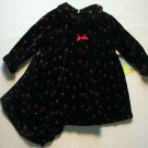 MOONBEAMS Girl's 12 Months Black Red Floral Velour Dress Set, NEW