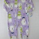 CARTER'S Girl's 4T Purple Fleece SNOWMAN Pajama Sleeper, NEW