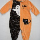 FIRST MOMENTS Girl's 6-9 Months Velour Footed HALLOWEEN Cat Ghost Romper