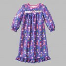 LALALOOPSY Girl's Size 2T Purple Flannel Print Nightgown, NEW