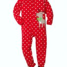 CARTER'S Girl's Size 3T Red Polka Dot Fleece Reindeer Pajama Sleeper, NEW