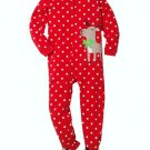 CARTER'S Girl's Size 3T Red Polka Dot Fleece Reindeer Pajama Sleeper, New Without Tags