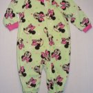 DISNEY Girl's 18 Months Light Green MINNIE MOUSE Fleece Pajama Sleeper