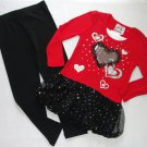 BEAUTEES Girl's Size 5 Red Heart Leggings Outfit, Set, New Without Tags