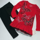 ONE STEP UP Girl's Size 4 Red Butterfly Tunic, Black Leggings Outfit, Set, NEW
