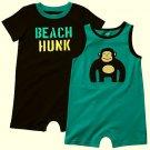 CARTER'S Boy's 6 Months Romper Set, BEACH HUNK and GORILLA, NEW