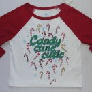 THE CHILDREN'S PLACE Girl's Size 12 Months Candy Cane Cutie Shirt, NEW