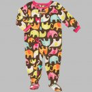 CARTER'S Girl's Size 4T ELEPHANT Print Micro Fleece Footed Pajama Sleeper, NEW