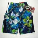 ZEROXPOSUR Boy's Size Large 7 Microfiber Surf Swim Shorts, Goggles, Floral, NEW